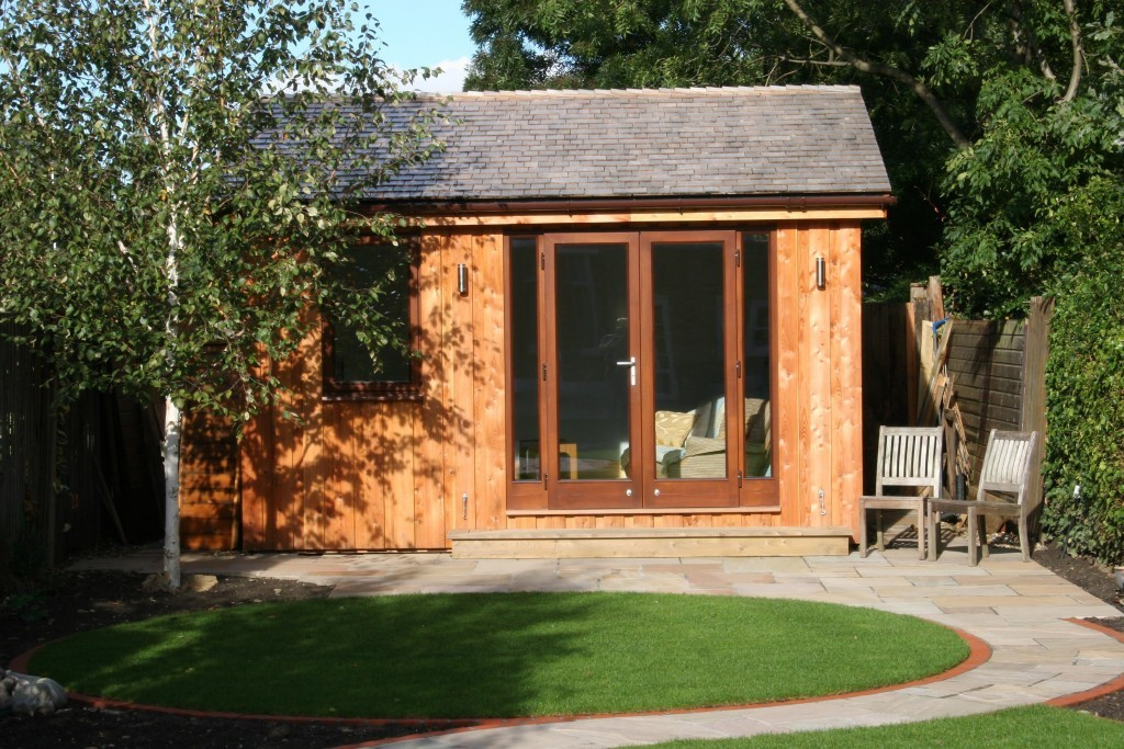 garden office with large french doors