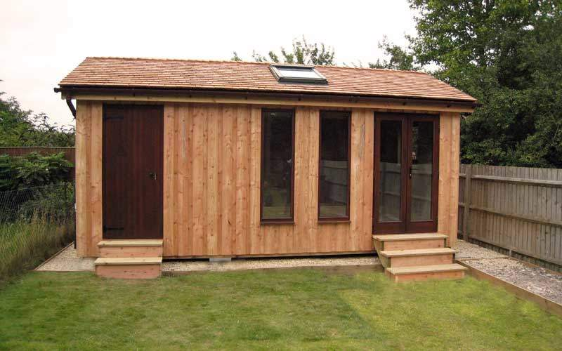 Garden Sheds 9x8 small contemporary garden office with green roof. smallest garden