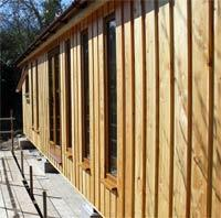 Vertical larch cladding