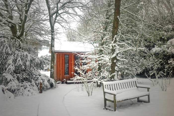 garden studio in the snow