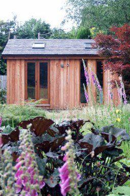 Garden office in field
