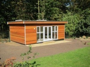 Garden office on concrete slab